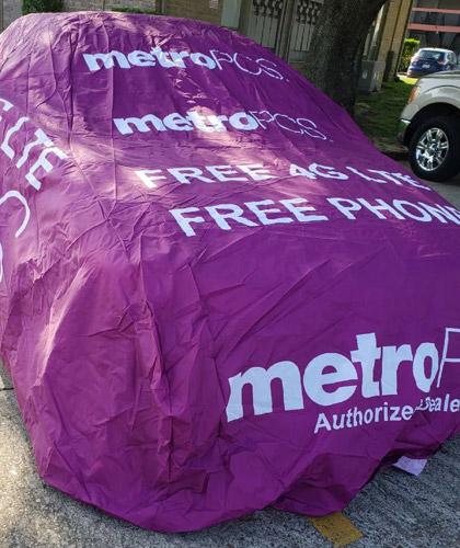 METRO PCS ADVERTISING CAR COVER FREE PHONE FREE 4G LTE 2