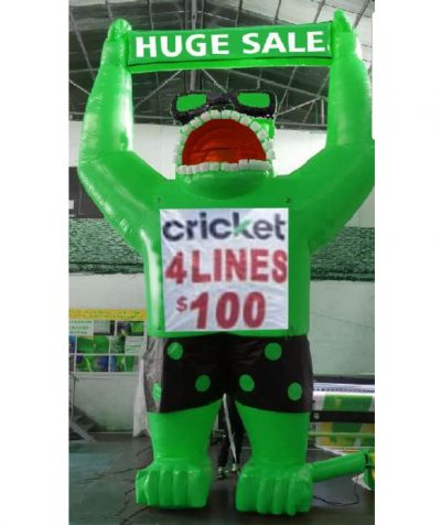 Giant inflatable green gorilla 20 ft